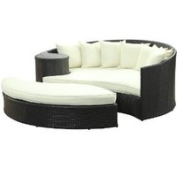 Amazon.com: LexMod Taiji Outdoor Rattan Daybed with Ottoman, Espresso with White Cushions: Patio, Lawn &amp; Garden