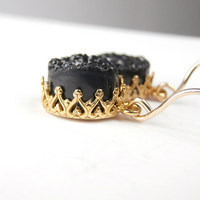 Black Druzy Earrings Dangle Earrings Gold Fancy Bezel Set Black and Gold Earrings Luxury Spring 2013 Fashion