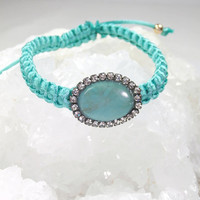 Turquoise Macrame Friendship Bracelet Gemstone Bracelet Diamond Look Bezel Lime Green Silk Macrame - Clarissa