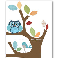 "Art for Kids Room, Kids Wall Art, Baby Boy Nursery Room Decor, Baby Nursery print 8"" x 10"" Print, owls, decoration, tree, green, blue"
