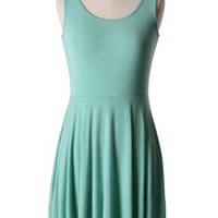Mint Green Sleeveless Pleated Dress
