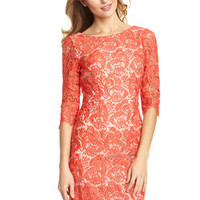 ideeli | ELIZA J Three Quarter Sleeve Shift Lace Dress