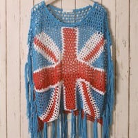 Union Jack Fringe Crochet Top