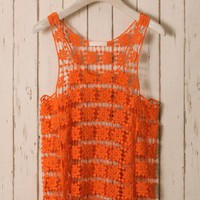 Orange Daisy Crochet Top