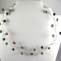 Berry branch necklace with silver wire and beading