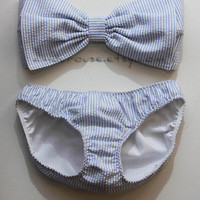 Seersucker Bow Bandeau and Bikini