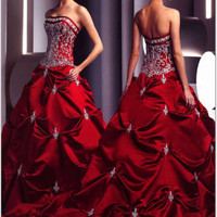 Red Satin Wedding/Bridal/Gown dress Custom size:4 6 8 10 12 14 16 18 20 22 24