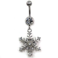 Clear Winter Snowflake Dangle Belly Button Navel Naval Rings Body Fashion Jewelry 14 Gauge