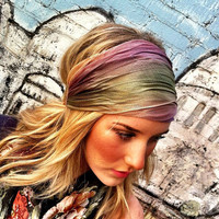 Stretch Headband Green MultiColor Mesh Women's by ThreeBirdNest