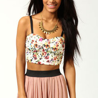 Rachel Woven Bralet In Floral Print