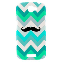 New GEEKY Mustache on Tiffany Chevron Pattern HTC One S Hardshell Case Cover HTC One S Case Geekery