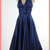 1950s Style Navy Blue Satin Halter Swing Dress-50s Inspireed Marilyn Dress