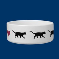 Cats and heart cat water bowl from Zazzle.com