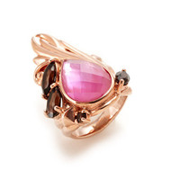 Stephen Webster Superstud Faceted Pink Quartz & White Mother Of Pearl Doublet Rose Gold Ring