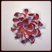 RedRust and White Flower hair clip 373 by RABOGNER on Zibbet