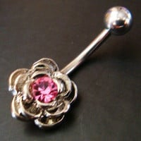 14g Pink Flower Belly Button Navel Rings Ring Bar Body Piercing Jewelry GIFT W05