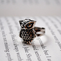 Silver Owl Ring by KellyStahley on Etsy