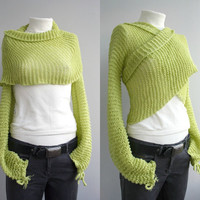 FREE Shipping Long  Sleeve New Season Pistachio Green Bolero Scarf Shawl Neckwarmer Valentines day Gift Gift under 100USD