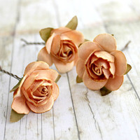 Peach Paper Flower Bobby Pins. Woodland. Whimsical. Flower hair clip. Wedding. Bridesmaids. Hair Accessories. Bobby Pins (Set of 3)
