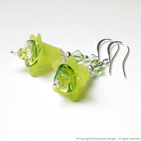 Lemon Sunshine Floral Crystal Earrings by whimsydaisydesigns