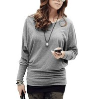 Amazon.com: Allegra K Woman Gray Boat Neck Bating Long Sleeves Autumn Shirt Blouse S: Clothing