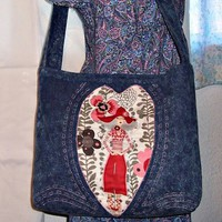 Stonewashed Denim Tote Bag Lady in Red in Heart Adjustable Strap