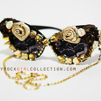 Vintage Inspired Gold Floral Rhinestone Spike Deco Cateyed Sunglasses with Chains