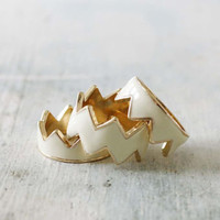 Drifting Chevrons Ring in Cream, Sweet Bohemian Jewelry