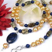 Blue Lapis Gold Pearl Necklace African Opal Sterling Silver Swarovski