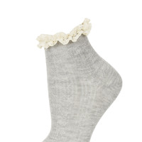Grey Cream Lace Trim Socks - Tights & Socks - Clothing - Topshop