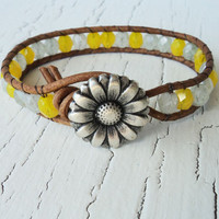 Beaded Wrap Bracelet, Yellow and White daisy bracelet boho chic bohemian style summer jewelry Rustic country western cowgirl