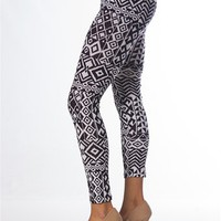 Tribal Aztec Print Leggings - Black & White at Lucky 21 Lucky 21