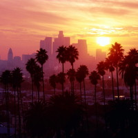 SJ0612 California Sunset Los Angeles Cityscape 24x18 Print POSTER