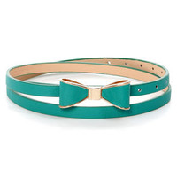 Ready, Set, Bow! Teal Bow Skinny Belt
