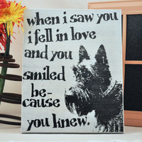 Luck O the Irish Sale Scottie fell in Love - Scottish Terrier -Unique Canvas Art, wall decor, wall art, Custom Dog Breed, Pet Art