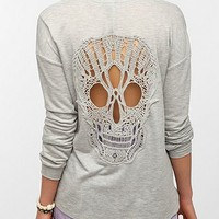 Sparkle &amp; Fade Skull Lace-Back Sweatshirt