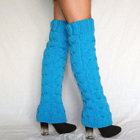 Winter Accessories Abovetheknee Knitted leg blue by orchideaboutique