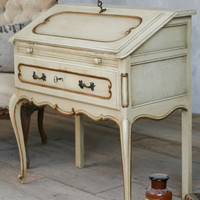 Vintage Cream Writers Desk with Gold Highlights - $1455 - The Bella Cottage