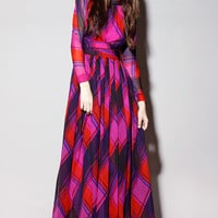 Shop Vintage | 70s Gino Charles Plaid Maxi Dress | Thrifted & Modern