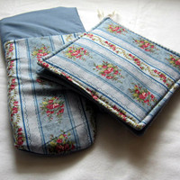 2 Kitchen Potholders and 1 Oven Mitt featuring by sewinggranny