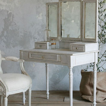 Antique French Vanity with Tri-Folding Mirror in Dove Blue - $2995 - The Bella Cottage