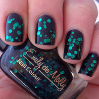 Nail polish - &quot;Black Forest&quot; emerald green glitter in a black jelly base - new 12ml bottle
