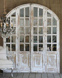 Vintage Shabby White Chateau Mirrored Arch Door Se
