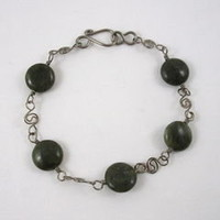 Canadian Jade Bracelet with Niobium Spiral Chain 8.25 inch