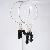 Argentium Sterling Silver Hoop Earrings with Faceted Black Bead Tassel