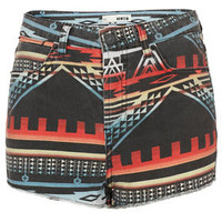 MOTO Indigo Aztec Denim Shorts - Shorts  - Clothing