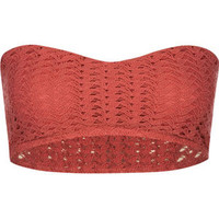 Full Tilt Crochet Bandeau Coral  In Sizes