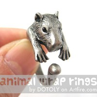 Large 3D Wombat Animal Wrap Around Hug Ring in Silver Sizes 4 to 10