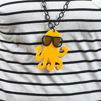 Canary Yellow Octopus Necklace,Plexiglass Octopus with 80s Slot Glasses,Lasercut Acrylic,Gifts Under 25