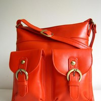 Leather Handbag Pocket Messenger Bag Orange